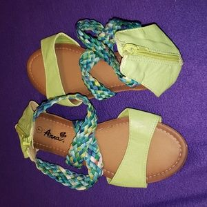Anna Lime sandal with multi-color straps